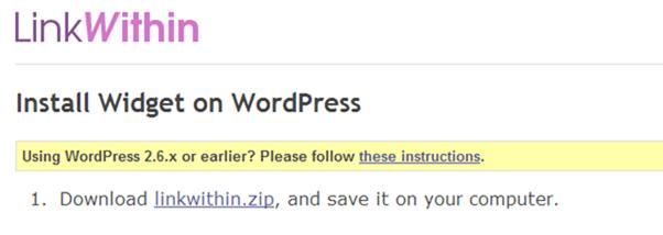 LinkWithin Widget on WordPress