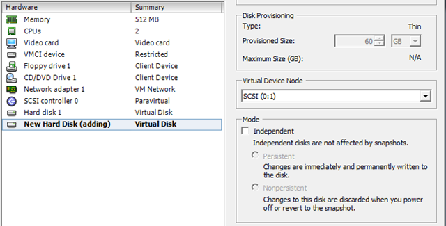 guest vm add new hard disk